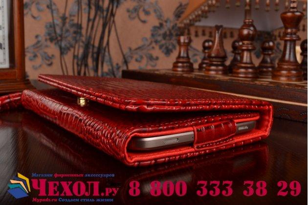 Фирменный роскошный эксклюзивный чехол-клатч/портмоне/сумочка/кошелек из лаковой кожи крокодила для планшета Acer Iconia Tab A1-850. Только в нашем магазине. Количество ограничено.