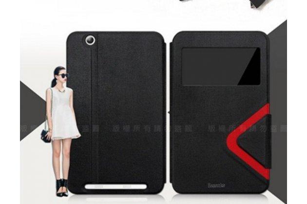 """Фирменный чехол-книжка для планшета Acer Iconia Tab B1-750/B1-751 7.0"""" черный с окошком водоотталкивающий"""