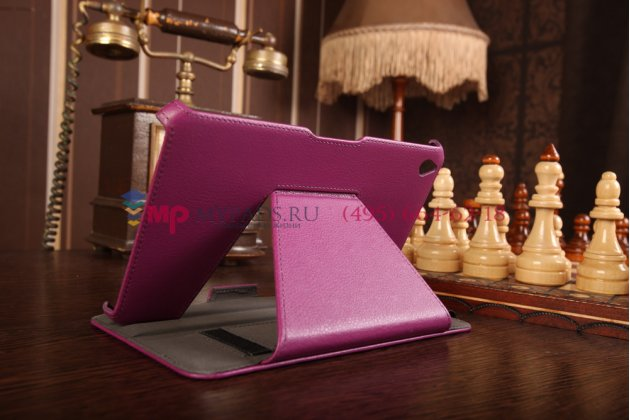 """Фирменный чехол открытого типа без рамки вокруг экрана с мульти-подставкой для Acer Iconia Tab W4-820/W4-821 фиолетовый кожаный """"Deluxe"""""""