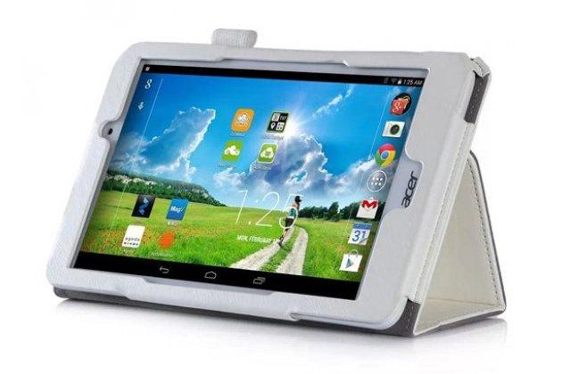 """Фирменный чехол бизнес класса для Acer Iconia One 8 B1-810-19LV с визитницей и держателем для руки белый натуральная кожа """"Prestige"""" Италия"""