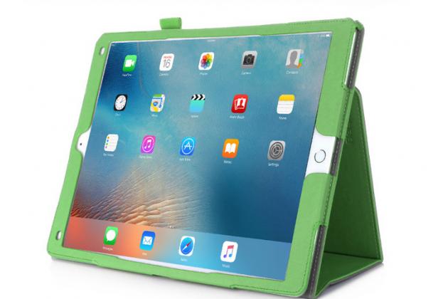 """Фирменный чехол бизнес класса для  iPad Pro 12.9"""" с визитницей и держателем для руки зелёный """"Prestige"""" Италия"""