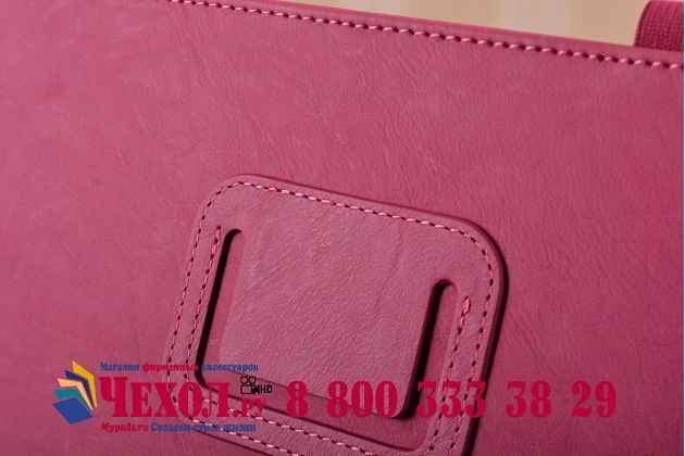 """Фирменный чехол бизнес класса для iPad Pro 12.9"""" с визитницей и держателем для руки розовый натуральная кожа """"Prestige"""" Италия"""