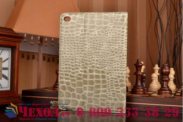 Фирменный чехол для iPad Mini 4 лаковая кожа крокодила серый