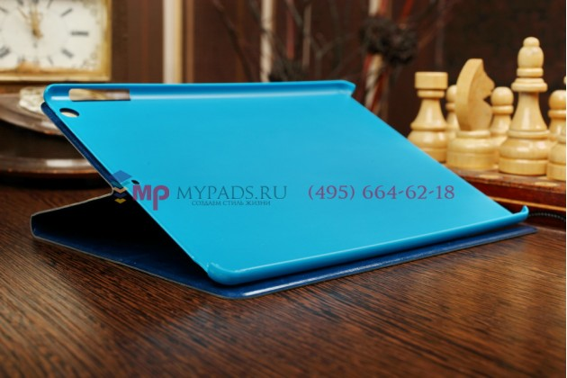 """Чехол для iPad Air """"кислотная тематика с черепами"""" синий кожаный"""