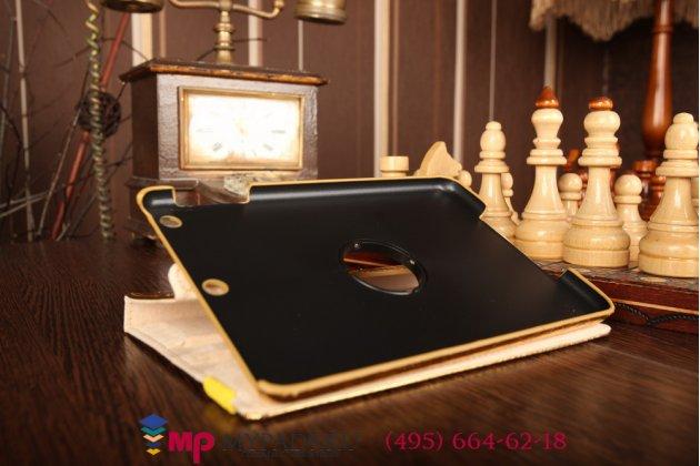 Фирменный чехол для iPad Mini 2 with Retina Display кожа крокодила золотой. Количество ограничено.