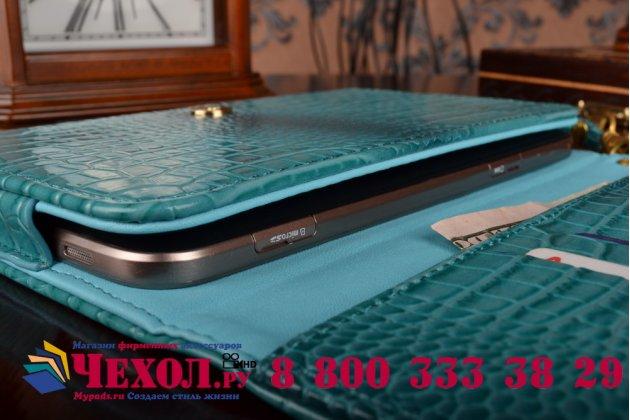 Фирменный роскошный эксклюзивный чехол-клатч/портмоне/сумочка/кошелек из лаковой кожи крокодила для планшетов Acer Iconia Tab B1-720/B1-721. Только в нашем магазине. Количество ограничено.