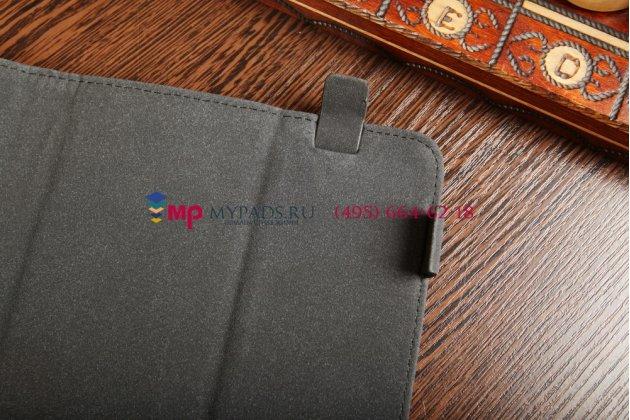 """Чехол-книжка для планшета с диагональю 10.1 дюймов черный натуральная кожа """"Deluxe"""" Италия"""