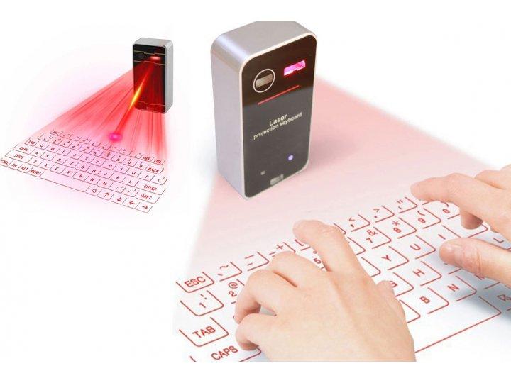 Беспроводная виртуальная Bluetooth клавиатура подключается к смартфонам, планшетам и персональным ПК (английская раскладка клавиатуры)