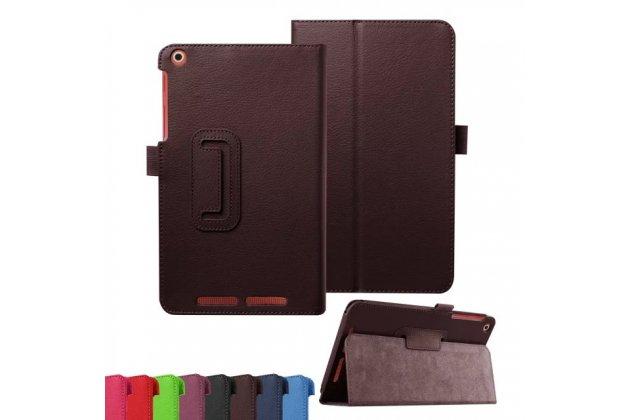 Фирменный чехол-обложка с подставкой для Acer Iconia Tab A1-860 коричневый кожаный